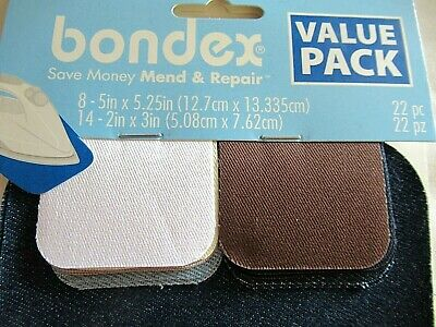"REPAIR BONDEX  2 PIECES BEIGE TWILL 5/"" x 7/"" IRON ON MENDING PATCHES-NO SEW"