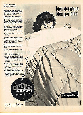 Other Breweriana Temperate Publicite Advertising 1958 Thibet-luxe Himalaya Duvet Couverture Extremely Efficient In Preserving Heat Breweriana, Beer