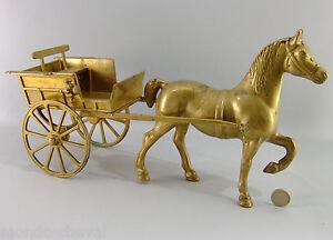 Grande-charrette-en-laiton-40-cm-complete-avec-banc-et-lanterne-cheval-Horse
