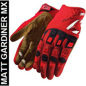 Kids alloy motocross gloves mx enduro 06 atom red new large 7 enduro