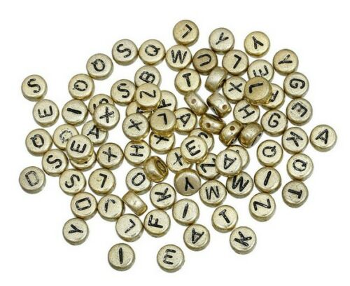 Letra del alfabeto Granos Redondos Espaciador Separadores Gold /& Silver 7 mm 50//100//200//500