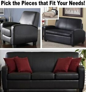 Details about Black Leather Home Theater Recliner Chair Sleeper Loveseat  Recliners Sofas Sofa
