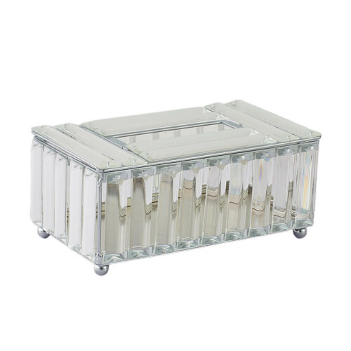 Tissue Box Crystal Napkin Holder Paper Storage Container for Living Room Silver