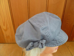 MONSOON ACCESSORIZE GREY BOW VINTAGE LOOK BAKER BOY PEAKED HAT CAP 57CM NEW