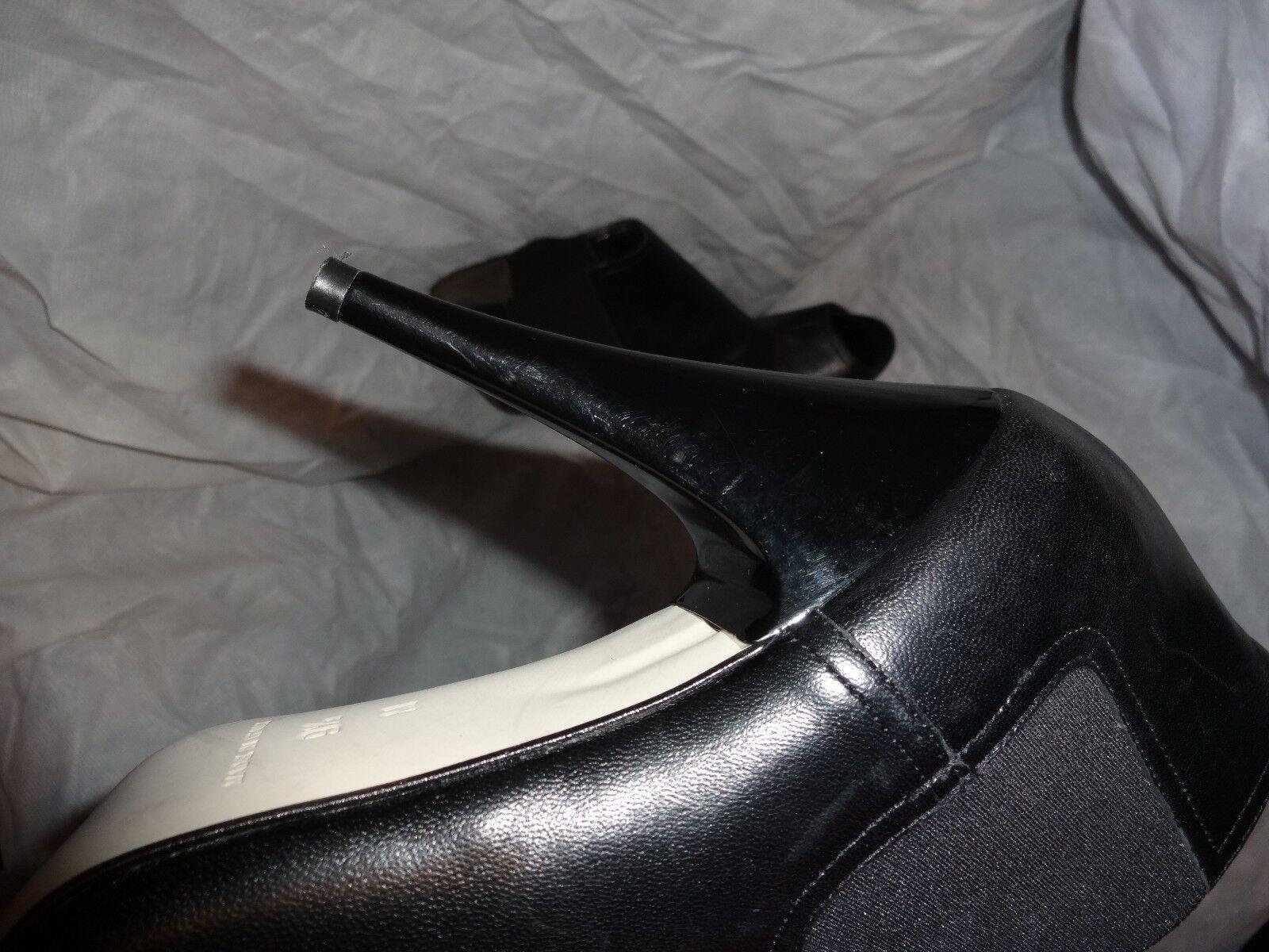 MICHAEL KOR WOMEN BLACK LEATHER TOE SLIP ON HEEL PEEP TOE LEATHER SIZE UK 6.5 EU 39.5 US 9.5 8c0e4f