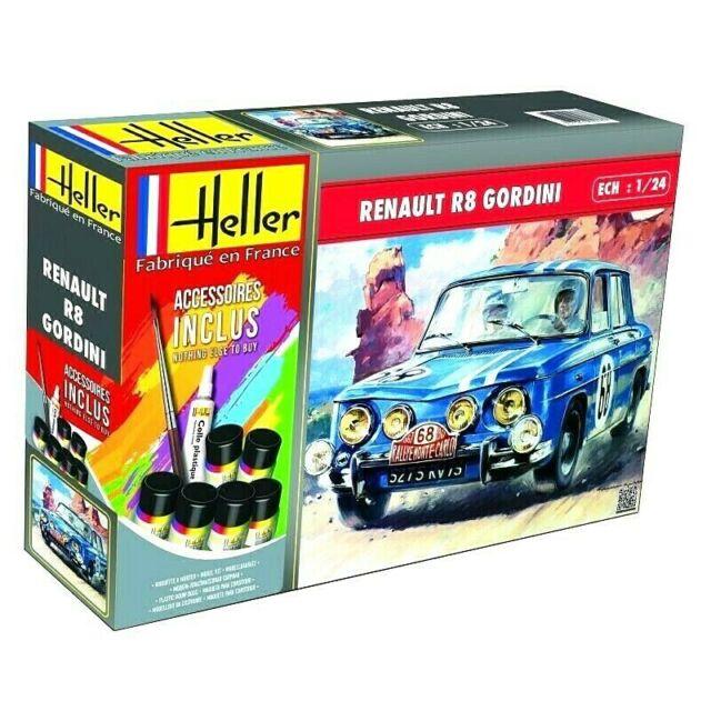 Heller 1:24 Renault R8 Gordini Gift Set Rally Car Model Kit