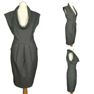 Zara-Grey-Smart-Work-Office-Pleat-Stretch-Cowl-Sleeve-Pencil-Tulip-Dress-XS-6-8