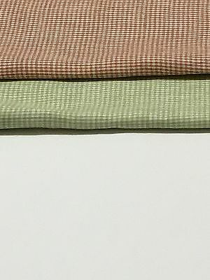 100% Flax Linen Fabric Yarn Dyed 2mm Small Gingham Check,Brown and Light  Green   eBay