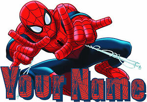 SPIDERMAN PERSONALISED STICKER WALL or IRON ON TRANSFER ...