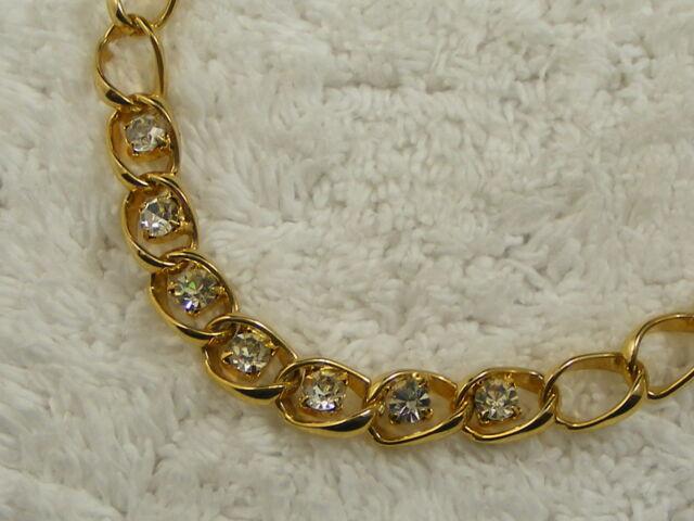 Goldtone Rhinestone Chain Necklace (B25)