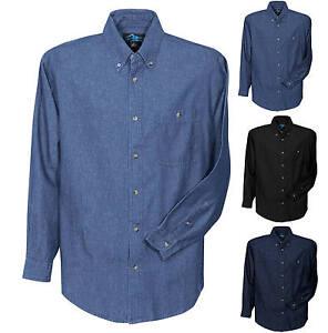 Mens stonewash denim shirt pocket long sleeve s 2x 3x 4x for Mens 5x polo shirts