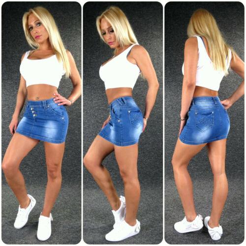 Mini Jeansrock Minirock Stretch XS S M L XL ZAZOU Sommer Damen Jeans Rock SH031