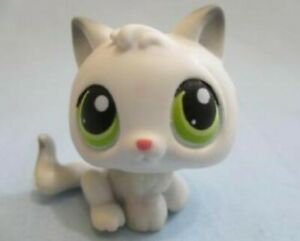 Littlest Pet Shop White Baby Kitten White 100 Cat Green Eyes Authentic Lps