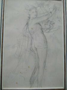 Beau-dessin-ancien-femme-XVIIIeme-etude-de-nymphe-bel-encadrement-bacchante-muse