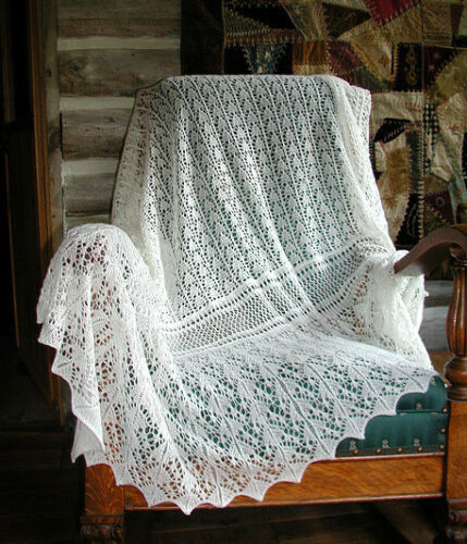 Traditional Lace Edge Baby Shawl 2ply Knitting Pattern Ebay
