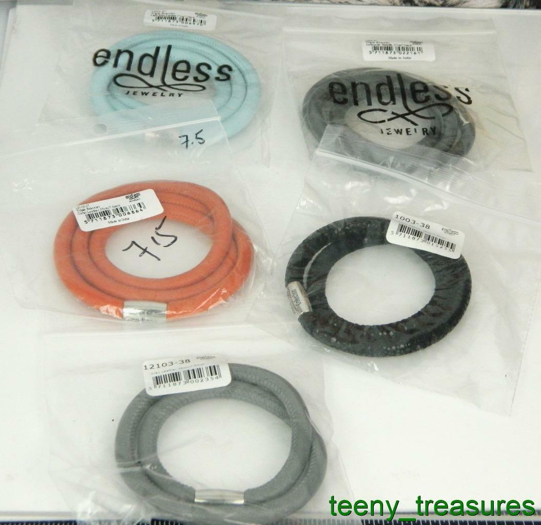 Lot of 5 Jennifer Lopez ENDLESS Multi color Leather Wrap Charm Bracelets  7.5