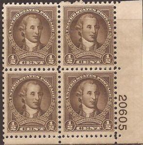 US-Stamp-1932-1-2c-George-Washington-Plate-Block-of-4-Stamps-MNH-704