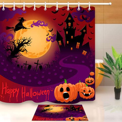 Halloween Skull Bat Witch Shower Curtain Liner Bathroom Mat Waterproof Fabric