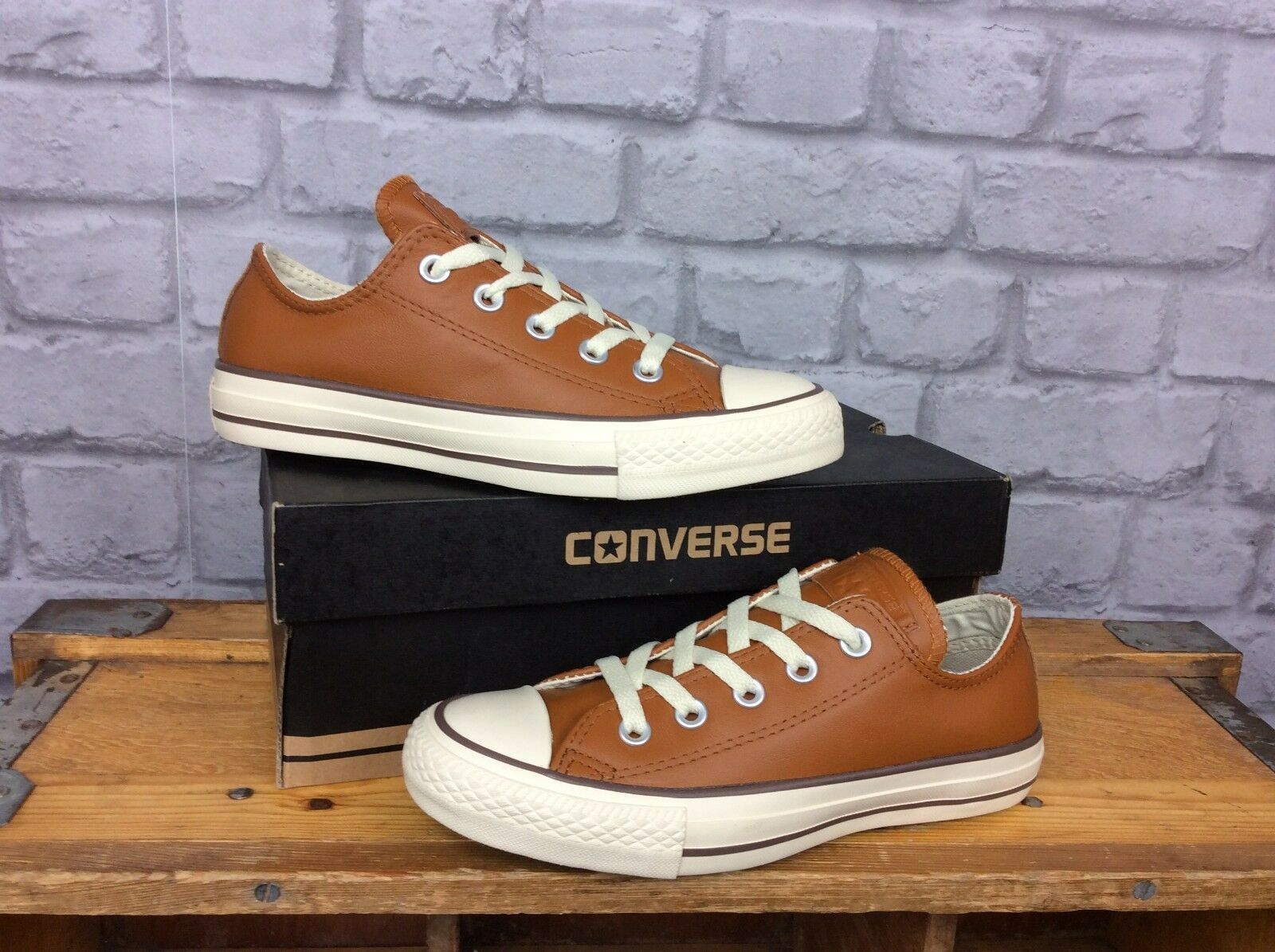 CONVERSE LADIES UK 3 EU 35 ALL STAR OX III TAN LEATHER TRAINERS