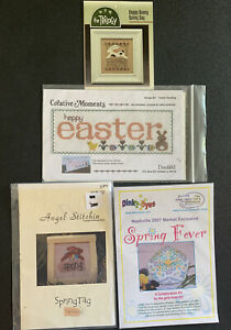 Easter-Spring-Cross-Stitch-Chart-Lot-Of-4-Bunny-Rabbit-Primitive