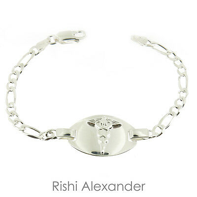 Sterling Silver Italian Medic Alert Bracelets with Custom Engraving Included