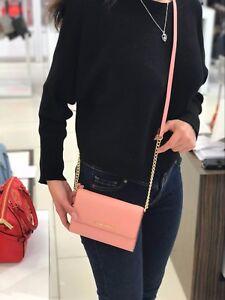 Michael-Kors-JET-SET-TRAVEL-LG-Phone-Crossbody-Bag-Leather-Pale-Pink-NWT