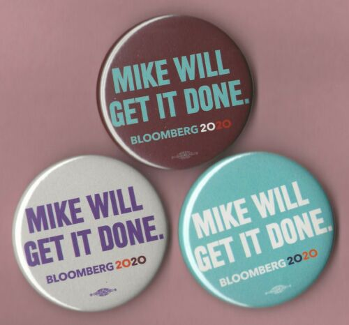 """Mike Bloomberg 2.25/""""// /""""OFFICIAL Get Done/"""" Campaign Buttons 2020 xmas Set of 3"""