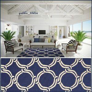 New Nautical Rope Coastal Beach House Tropical Ocean Area Rug Navy Ivory Carpet Ebay