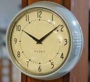 Wanduhr-Kuechenuhr-Retro-Design-Vintage-Metall-Kueche-Quarzuhr-Uhr-hellblau