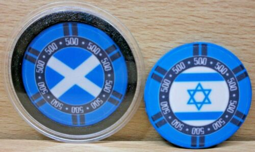 SCOTTISH//ISRAELI FLAG POKER BRAND NEW CASINO CHIP CARD GUARD//PROTECTOR