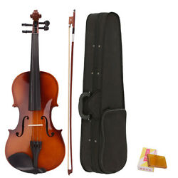 New Acoustic 4/4 Full Size Violin with Case and Bow Rosin Wood School Gift