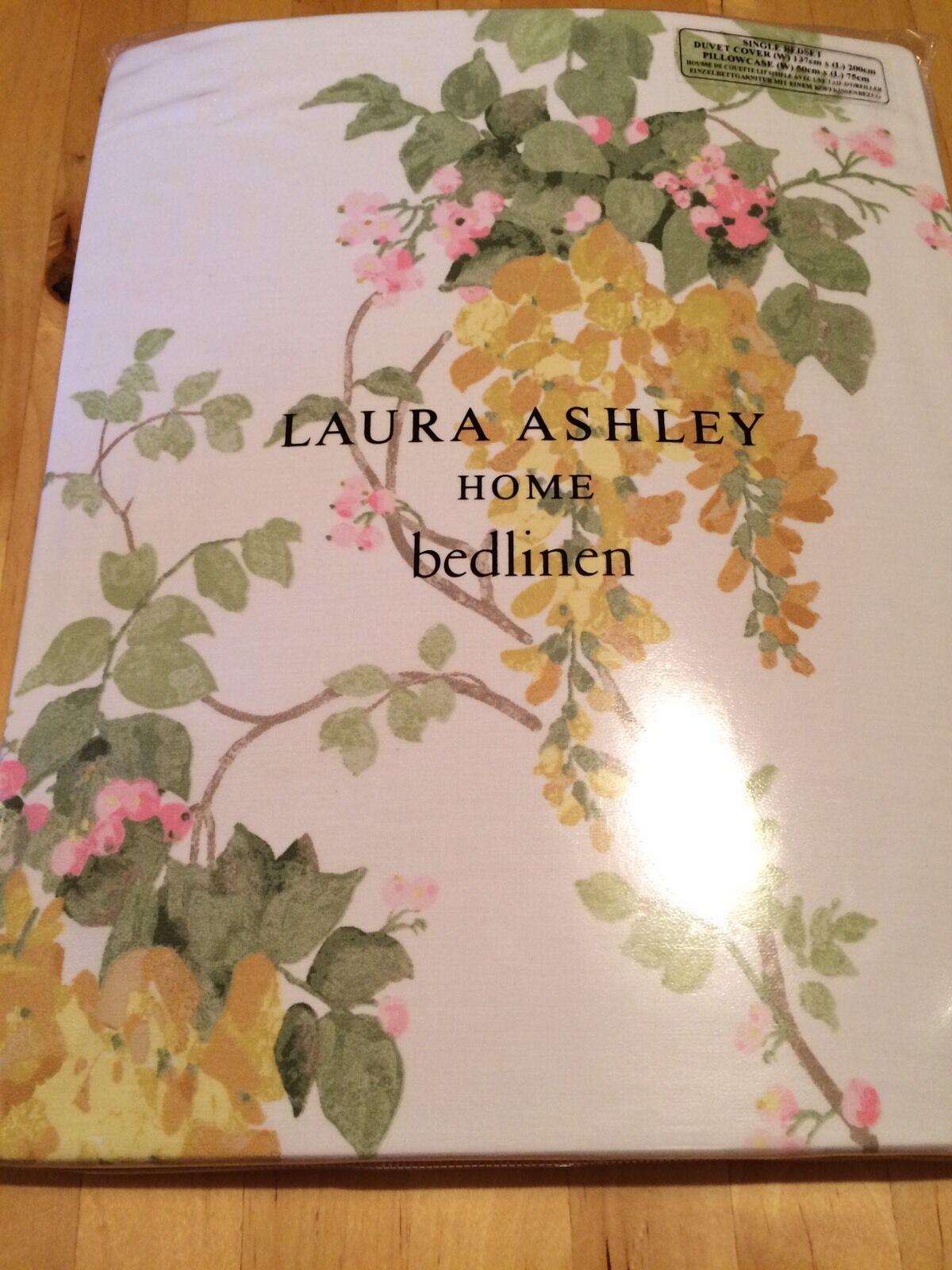 BNWT New Laura Ashley Single Bedset Cover 1 Pillowcase Wisteria Camomile Cotton