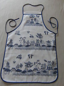 Image Is Loading WHITE BLUE WILLOW KITCHEN APRON ORIENTAL CHINESE JAPANESE