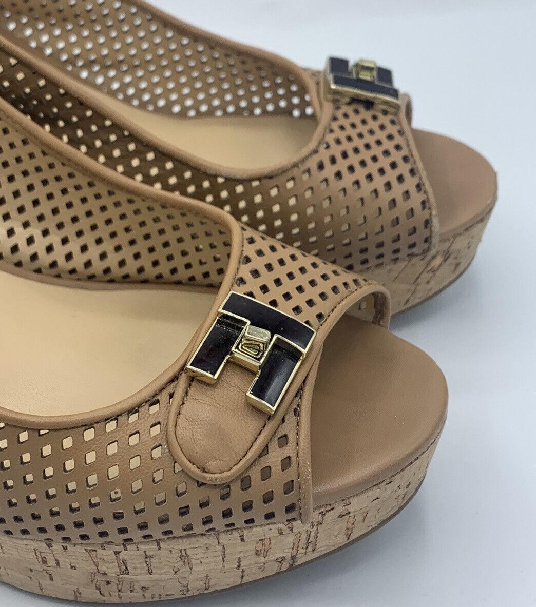 Tommy Hilfiger Size 8.5 M Tan Leather Cork Wedges - image 2