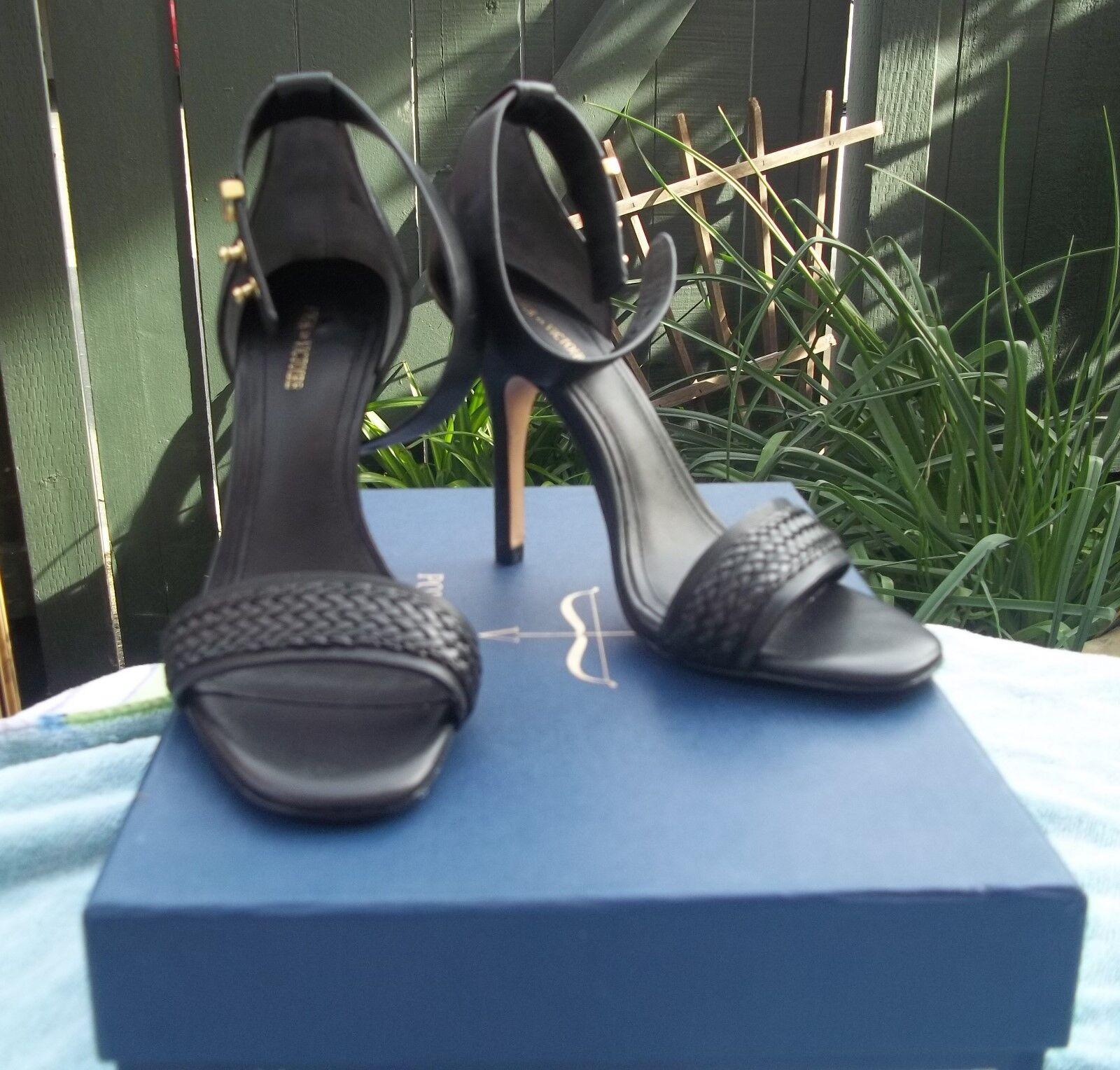 New Pour La Victorie Black Vachetta Leather Sexy Ankle Strap Strap Strap Heel Stilettos 6.5 f434ee
