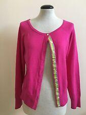 Lily Pulitzer Womens Pink Cardigan Button Sweater Grosgrain Ribbon Trim sz M