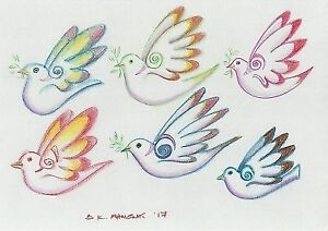 Neo Griego Mítico Pájaros Estudio De Arte Dibujo Color Firmado 2017