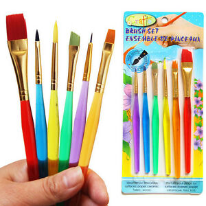 6 Pcs/Set Paint Brush Set New Nylon Handle Brush Kid Watercolor Drawing A>x