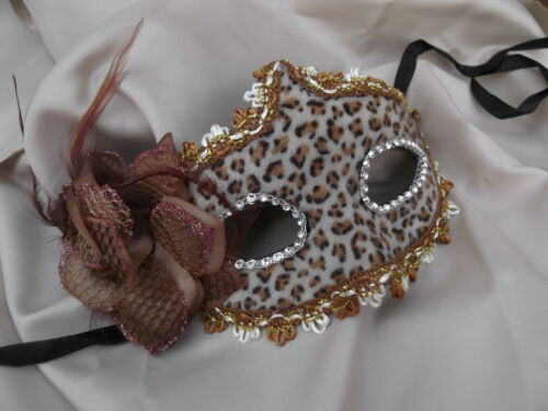 Venetian Masquerade Mask Faux Fur Brown Animal Print With Side Flower Decoration