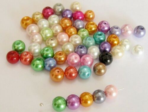 """100 Mixed Colour Loose Glass Faux Pearl Smooth Round Beads 8mm 0.32/"""""""
