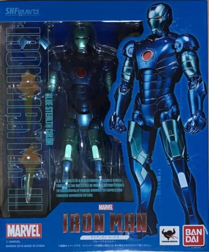 Bandai S.H.Figuarts Iron Man Mark 3 Blue Stealth Color JAPAN OFFICIAL IMPORT