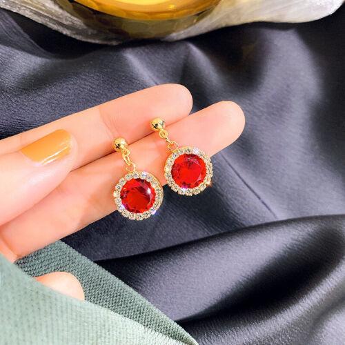 Earrings Drop Women A Elegant White Sapphire Pair//set 925 Silver Gold Jewelry