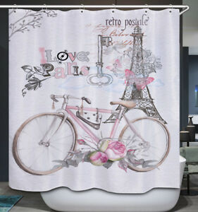 Image Is Loading Retro Postale Bike Eiffel Tower Fabric Shower Curtain