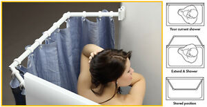 Image Is Loading Extend A Shower Bigger Shower Curtain Rod Travel