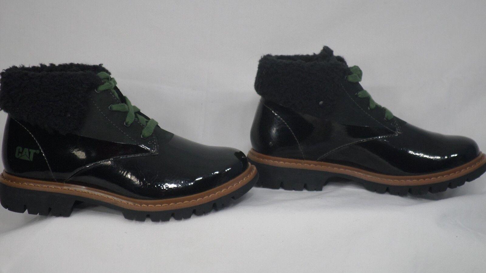 CAT Footwear 'Hub Fur' Black Patent/Nubuck Leather Fur Cuff Bootie Size 5.5 M