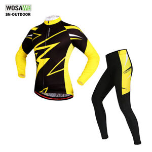 Men-039-s-Cycling-Kit-Long-Sleeve-Jersey-Padded-Pants-Set-MTB-Bike-Bicycle-Trousers