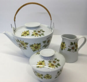 Noritake Cookin Serve Japan China 6730 Marguerite Teapot Creamer Sugar Bowl EUC