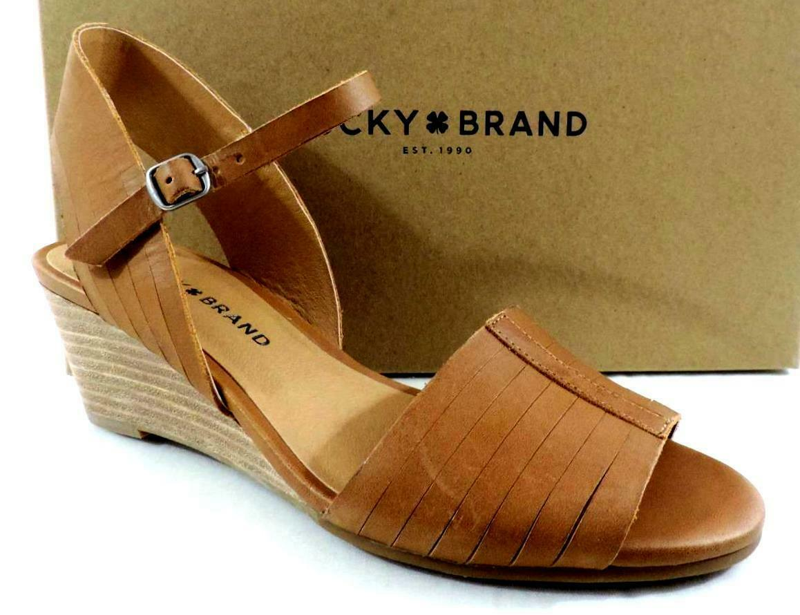 Lucky Brand Jimbia Ankle Strap Wedge Sandals Leather Brown Size 10