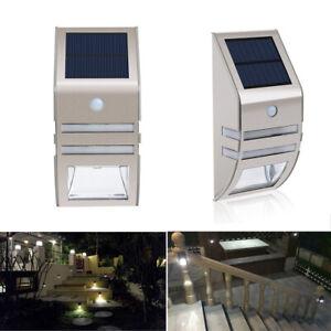 Exterieur-2-LED-Solaire-Lampes-Murales-puissance-Detecteur-de-Mouvement-Pir