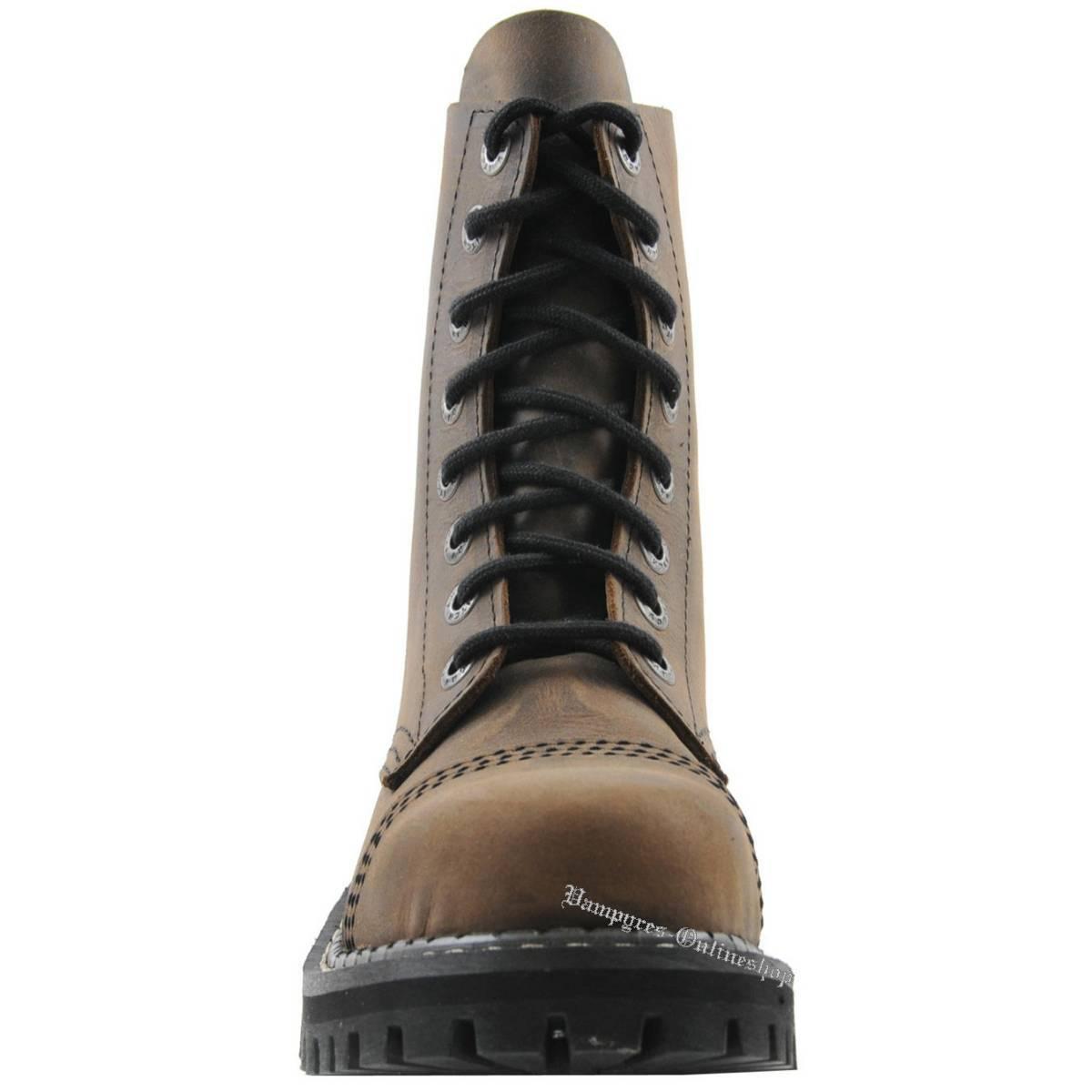 Angry Itch 8-agujero marrón vintage marrón rangers botas botas botas de cuero zapatos tapas de acero 680bac